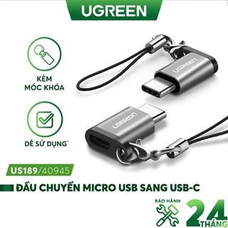 Đầu chuyển Micro USB cái sang USB-Type C đực vỏ nhôm UGREEN US189 thumbnail