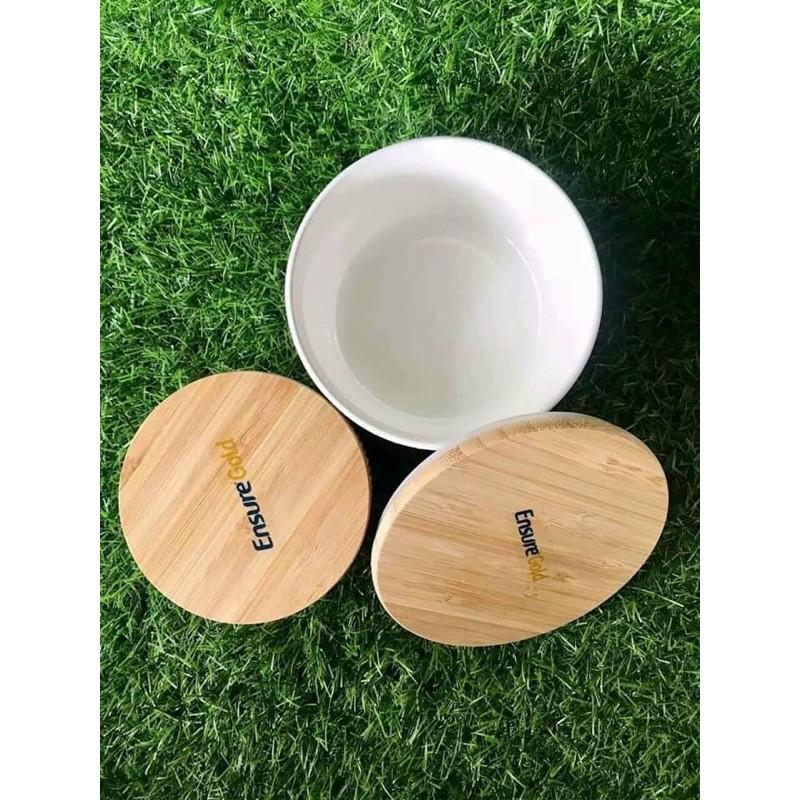 Bộ 2 thố sứ nắp gỗ có ron Hkm Ensure Gold