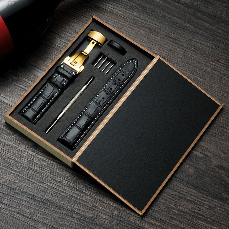 Dây đeo đồng hồ thay thế bằng da thật có khóa bướm & hộp gỗ cho nam & nữ