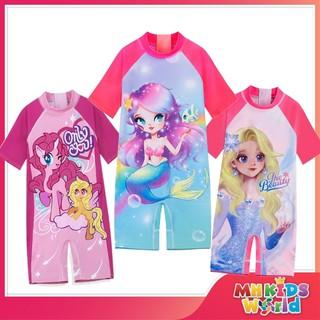 Đồ bơi trẻ em bộ liền thân cho bé gái từ 3-9 tuổi, đồ bơi trẻ em ngắn tay Hello Kitty, Tiên Cá, Công Chúa, Elsa