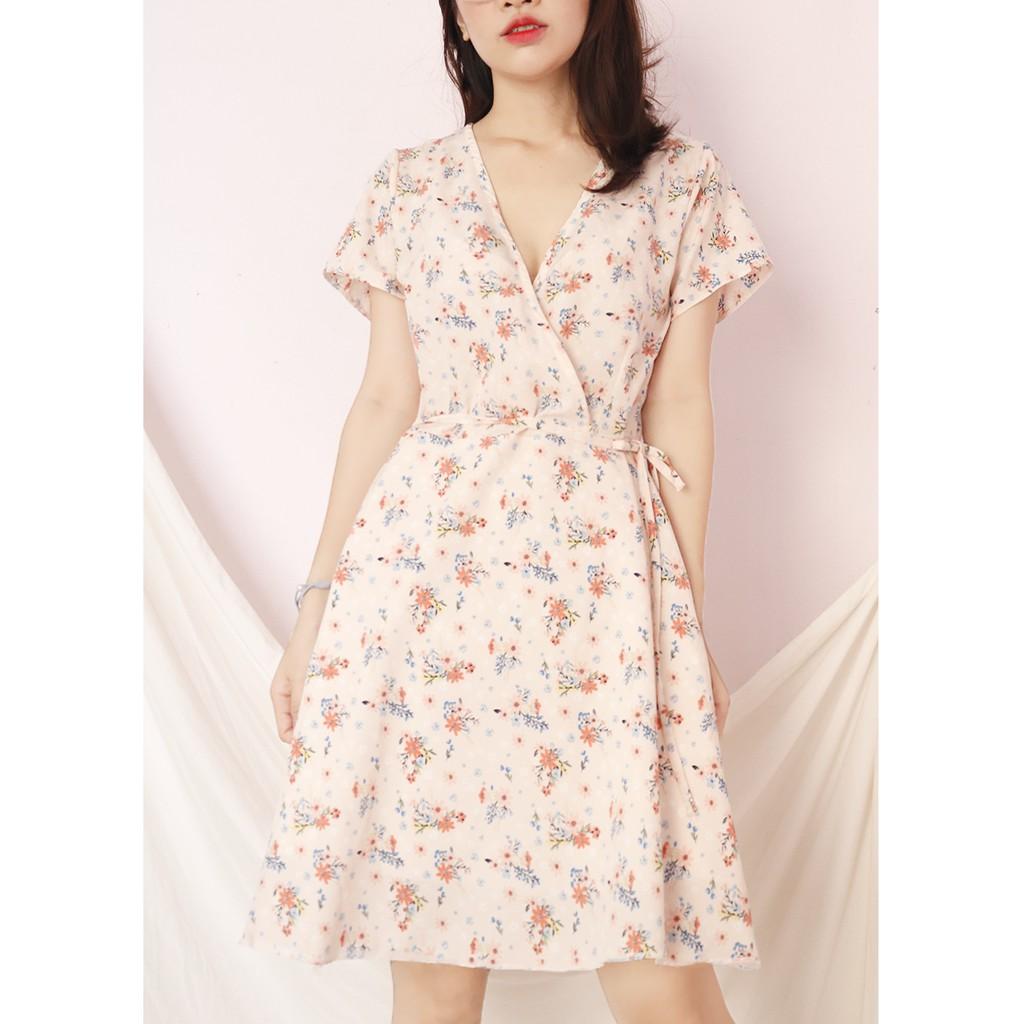 Đầm váy nữ hoa nhí, dáng xoè cổ chữ V xinh xắn, dễ thương RD045