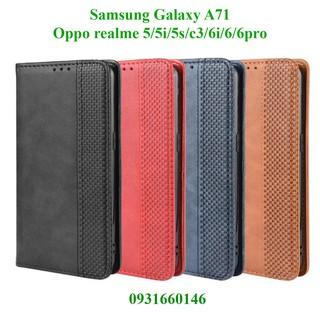 Bao da điện thoại Samsung Galaxy A71, Oppo Realme 5 / 5i / 5s / C3 / 6 / 6i / 6 pro dạng ví nắp gập, ngăn đựng thẻ ATM