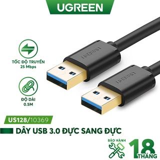 Dây USB 3.0 đực sang đực mạ vàng, dây dạng tròn, độ dài từ 0.5-2m UGREEN US128 thumbnail