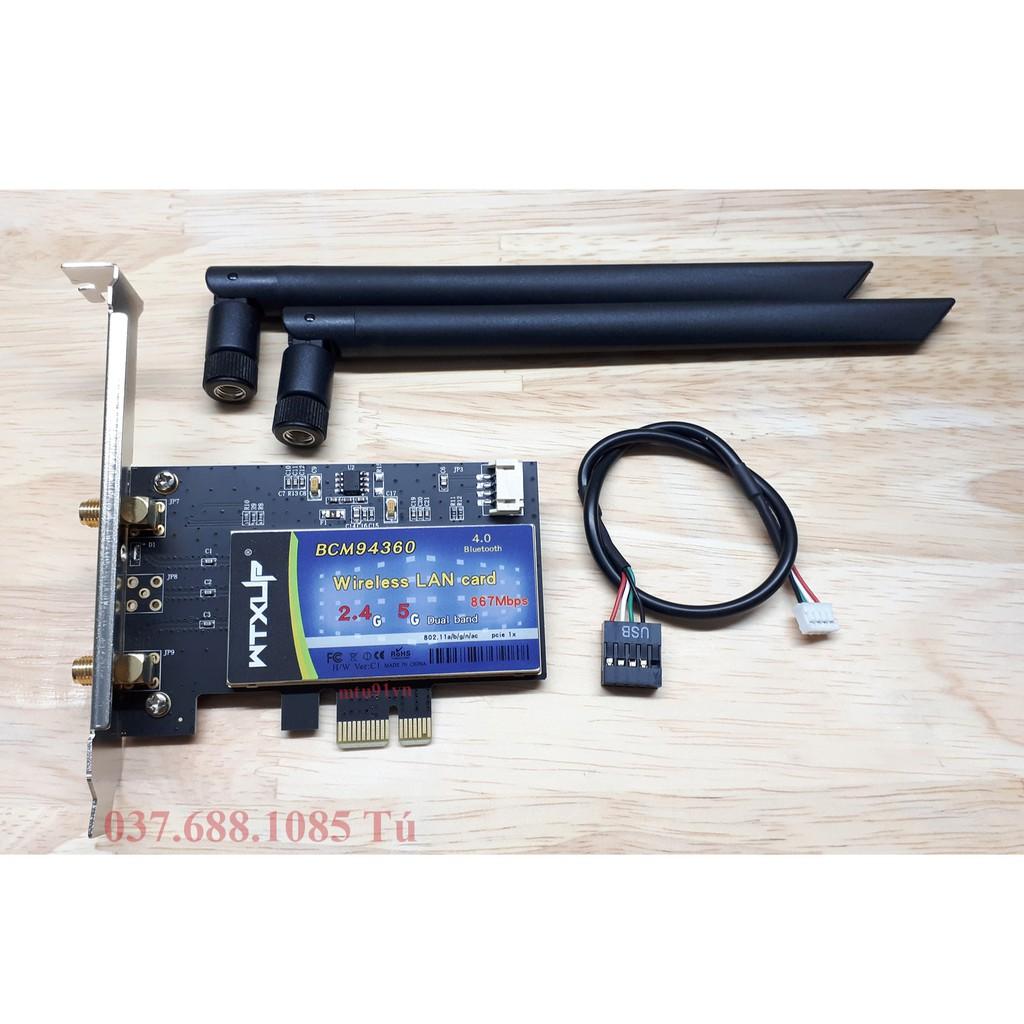 Card WiFi cho Máy bàn BCM94360 có Bluetooth / hỗ trợ MacOS Giá chỉ 660.000₫