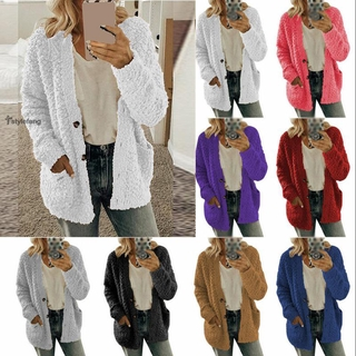 Jacket Bear Casual Cardigan Soft Coat Tops Jumper Ladies Winter Warm Long Plush Outwear Jacket Plus Size Womens
