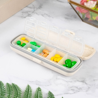 7 Compartments Travel Pill Case for Pocket or Purse Daily Pill Box for Vitamin Fish Oil Supplements