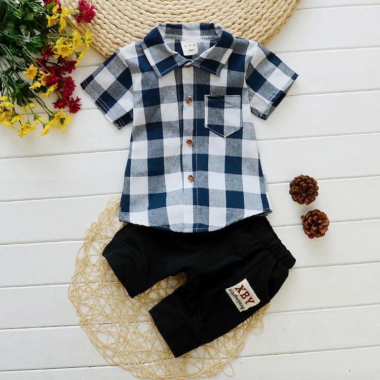 Set áo sơ mi kèm quần ngắn chất lượng cao thời trang thường ngày cho bé trai 0 - 5 tuổi