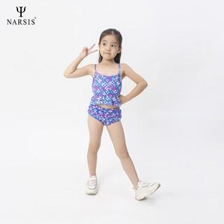 Bộ đồ bơi bé gái xanh hình khối Narsis KA0013
