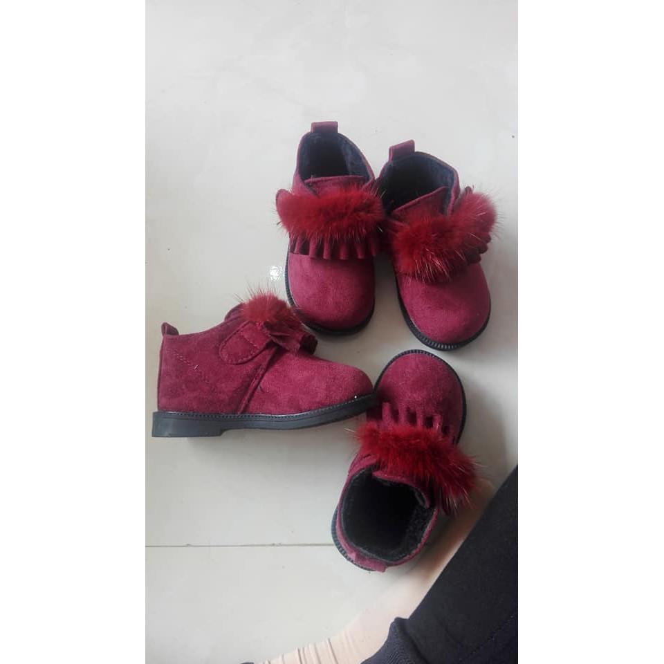 Sale Boot cao cấp lót nỉ cổ lông cho bé gái side 23,24