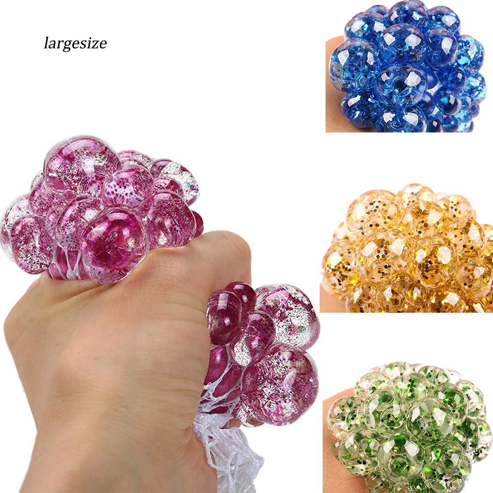 Squishy Fruit Grape Sequin Beads Stress Reliever Kids Adults Squeeze Vent Toy