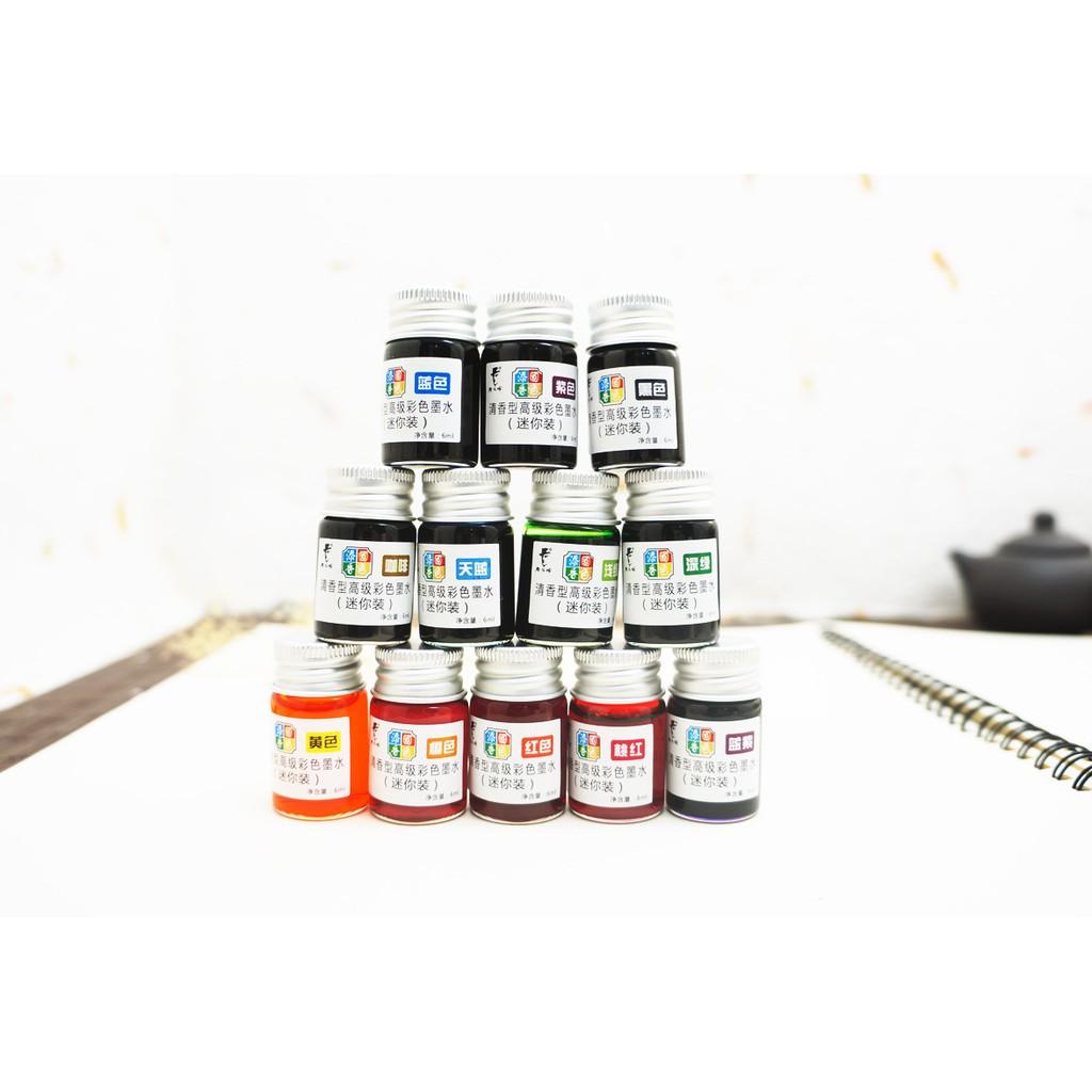 Mực - Mực cao cấp TỨ SẮC 12 màu chuyên dùng cho bút lông, bút máy, bút pha lê để vẽ và viết thư pháp