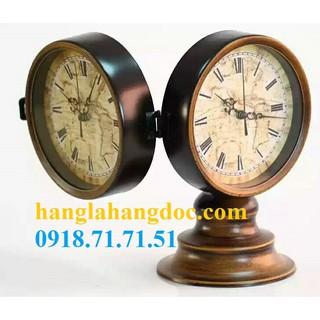 Đồng hồ 02 mặt để quầy lễ tân khách sạn, spa, văn phòng cao cấp (bằng sắt)