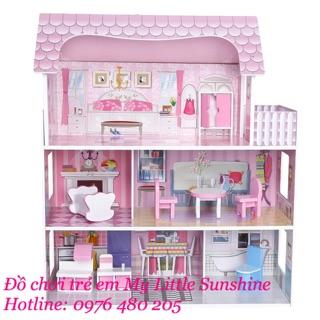 Nhà búp bê Barbie 3 tầng bằng gỗ cỡ lớn cho Bé [ nhà có nội thất]
