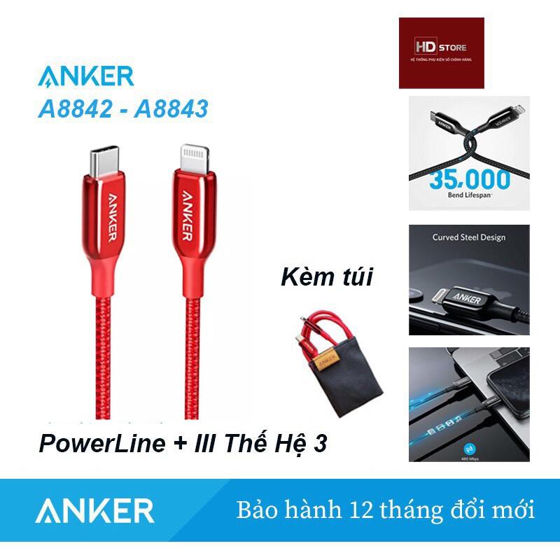 Bộ sạc ANKER 20W Nano - Sạc 20W Mã A2633 + Cáp Powerline + III Thế hệ 3 Usb C to Lighting Mã A8842 A8843
