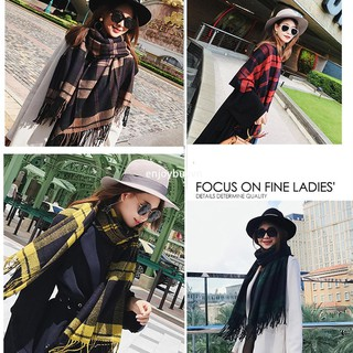 enjoybuy.vn Women Elegant Plaid Artificial Cashmere Tassel Scarf Shawl Warm Scarves