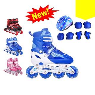 Giày Trượt Patin Cao Cấp Cho Trẻ Em và Người Lớn, Giày Patin Phát Sáng Có Bảo Hộ (Chân,Tay,Mũ)