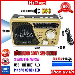 ĐÀI RADIO FM-AM-SW H2Pro SW-521UT kiêm máy nghe nhạc USB-Thẻ nhớ, jack tai nghe, đài radio pin sạc tích hợp ĐÈN PIN