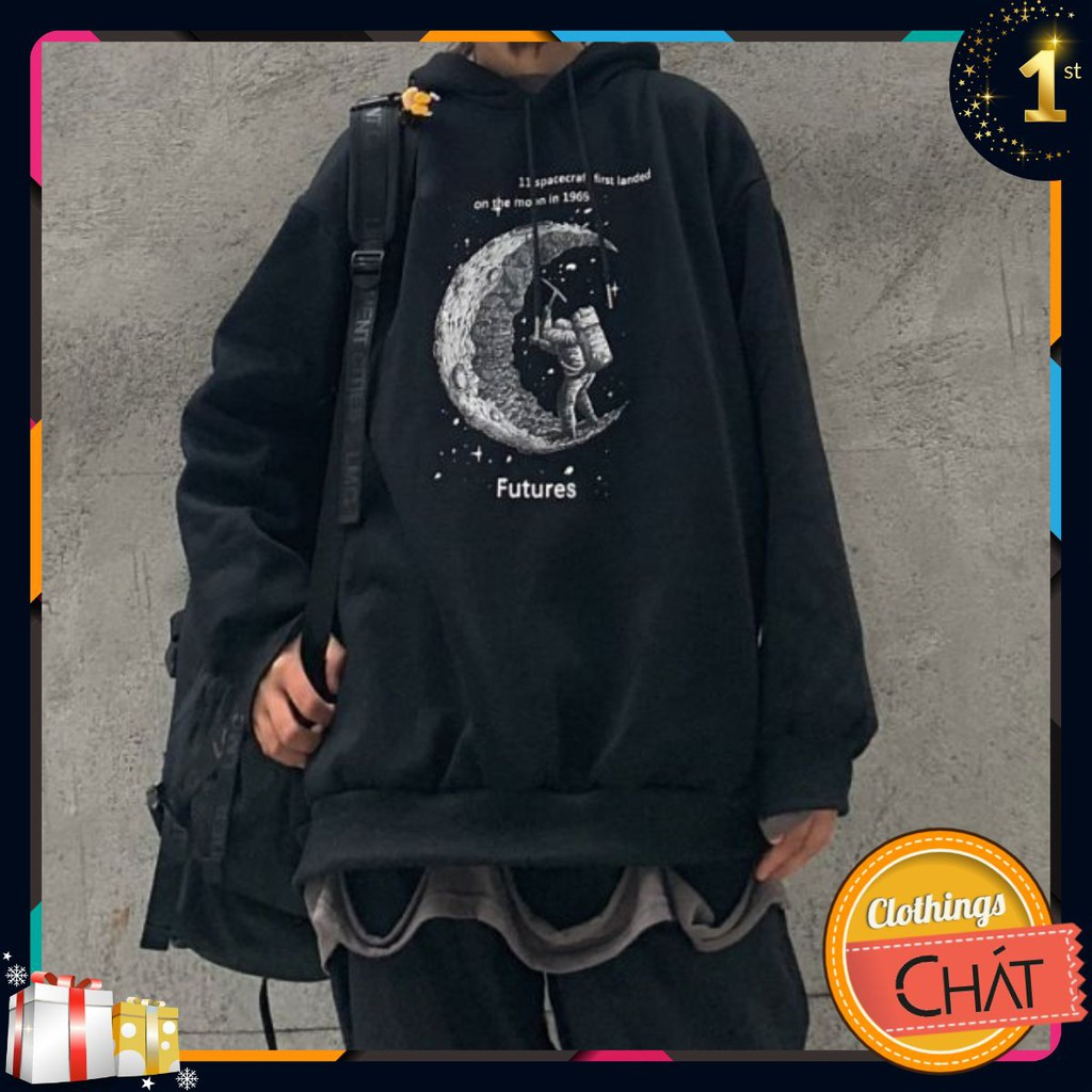 Áo hoodie ulzzang đen mặt trăng
