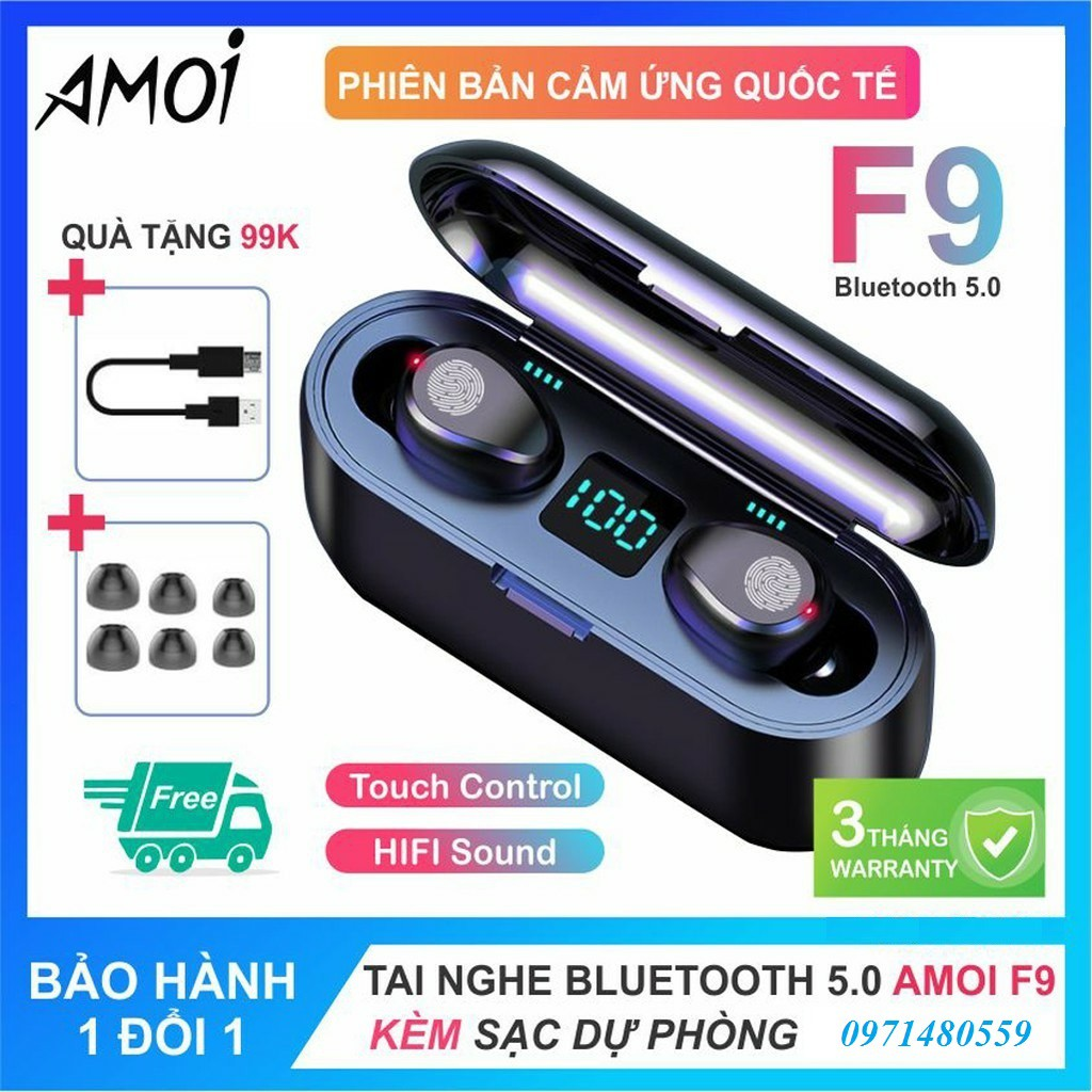 Tai nghe true wireless AMOI F9 | bản QUỐC TẾ | nút cảm ứng | Bluetooth 5.0 | Pin 280 giờ | sạc dự phòng 2020