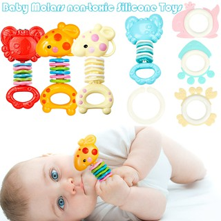 Safety Baby Rattles Teether Toy Gutta Molar Bars Biting Bells Silicone Teething Appease Toys