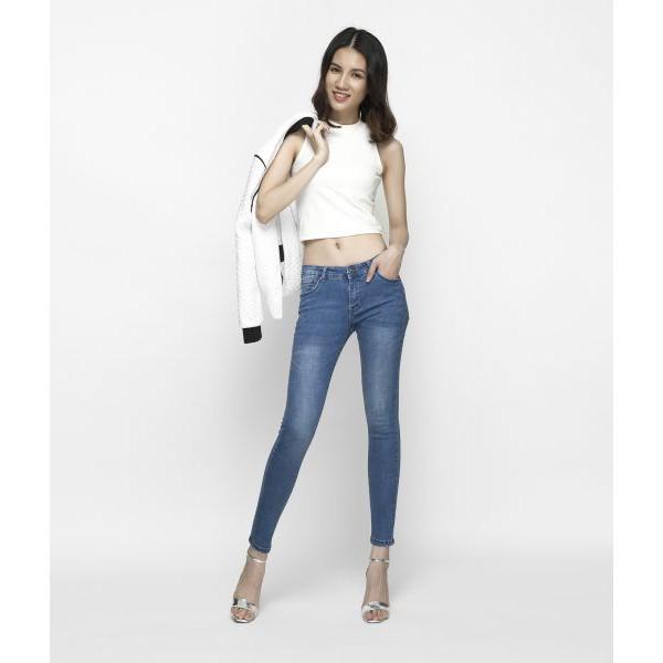 Quần Jeans Nữ AAA JEANS Skinny Màu Xanh Biển Lưng Vừa