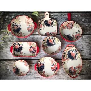 Bộ chén bát sứ tráng men hoa đỏ trang trí bàn ăn, dùng trong lò nướng. lò vi sóng