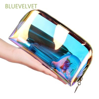 BLUEVELVET Portable Cosmetic bag Zipper Transparent Travel bag Beauty Organizer Waterproof Laser Makeup Multifunctional Storage bag