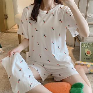 Bộ Đồ Ngủ Nữ Ngắn Tay Kèm Túi Chất Liệu Lụa Sữa Co Dãn 4 chiều Thoáng Mát - Đồ Mặc Nhà Nữ Kiểu Dáng Hàn Quốc
