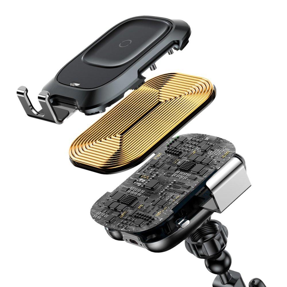 Đế giữ điện thoại kèm sạc không dây trên xe hơi Baseus Smart Vehicle Bracket Wireless WXZN-B01