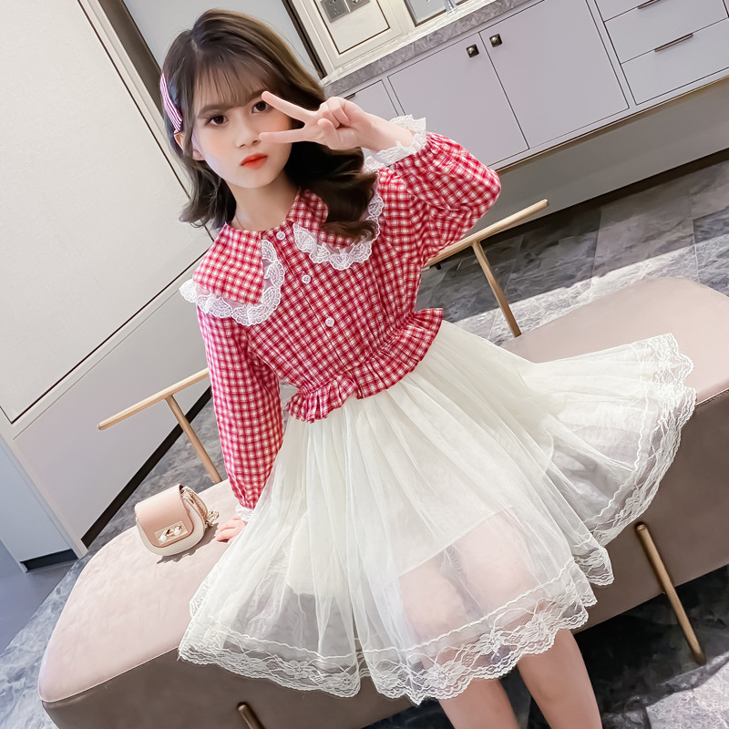 New girls' spring and autumn dresses, little girls' dresses, fashionable baby princess dresses.