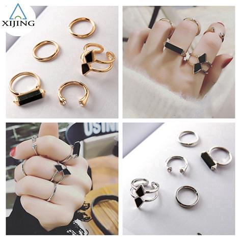 Bộ 5 nhẫn kim loại phong cách cổ điển có thể điều chỉnh hợp thời trang cho nữ
