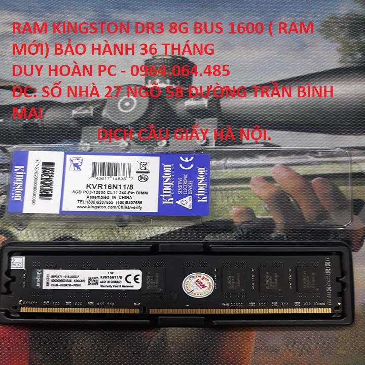 Ram Kingston DDR3 8GB Bus 1600MHz TẶNG TÍP TẢN NHIỆT CHO CPU + TẶNG  LÓT CHUỘT MỚI