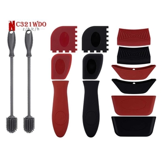 2x Silicone Bottle Brush Bottle Cleaner Lab Cleaning Brush & 12x Silicone Hot Handle Holders Rubber Pot Holders Cover