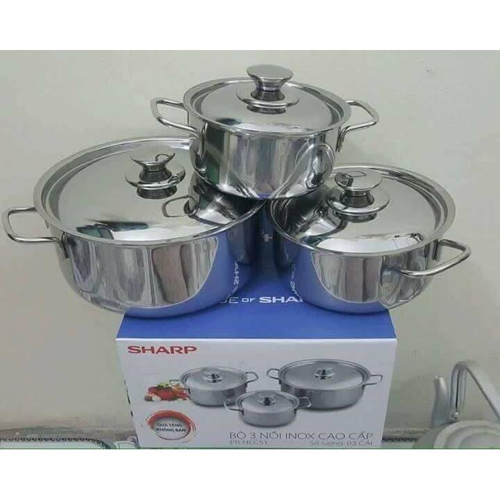 Bộ 3 nồi inox cao cấp quà tặng từ Sharp đun bếp Từ - 2405093 , 86402948 , 322_86402948 , 210000 , Bo-3-noi-inox-cao-cap-qua-tang-tu-Sharp-dun-bep-Tu-322_86402948 , shopee.vn , Bộ 3 nồi inox cao cấp quà tặng từ Sharp đun bếp Từ