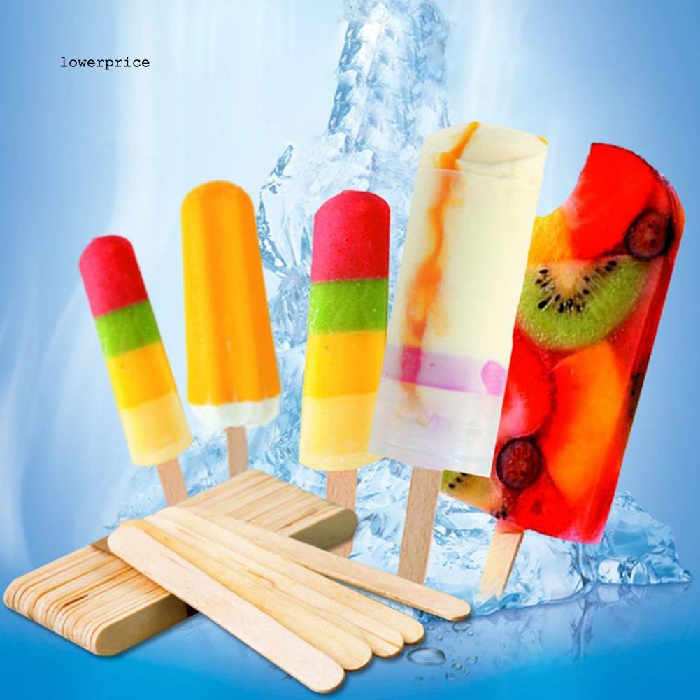 50Pcs Wooden Ice Cream Sticks DIY Hand Crafts Lolly Cake Small Cudgel Tools