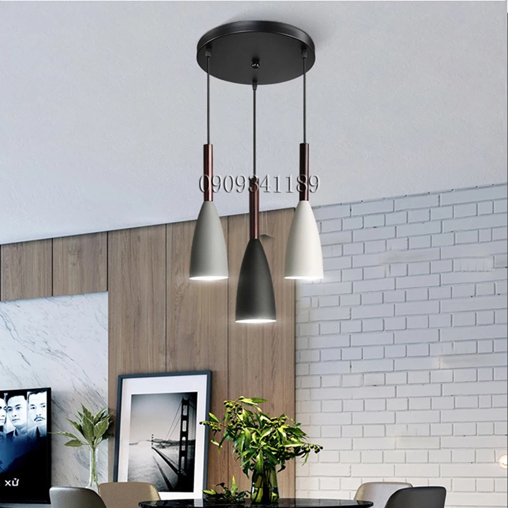 Đèn thả bàn ăn cao cấp 3 bóng sơn tĩnh điện, Đui E27