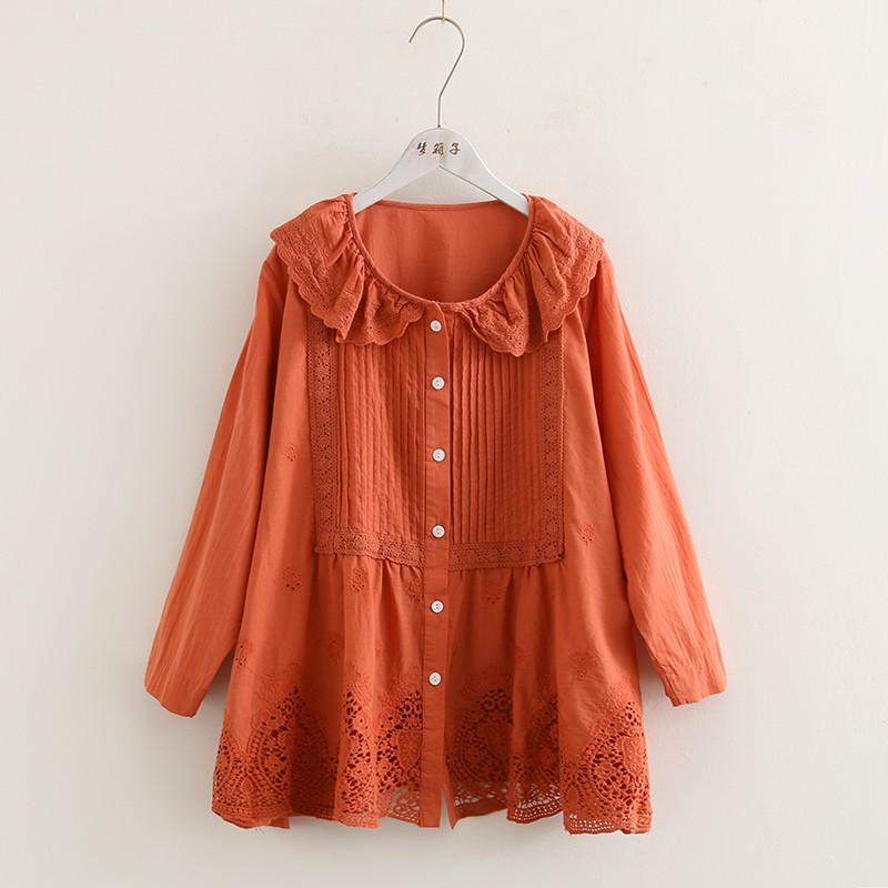 [ Style Nhật ] Áo babydoll ren lỗ cổ sen peterpan