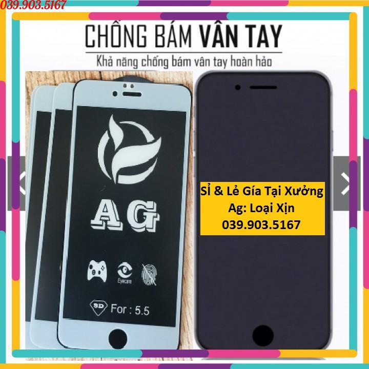 Kính Cường Lực Iphone  Full Màn Chống Vân Tay Nhám AG Tốt Nhất  6/6s/6plus/7/7plus/8/8plus/X/XSMaX(TẶNG MIẾNG LAU KÍNH)