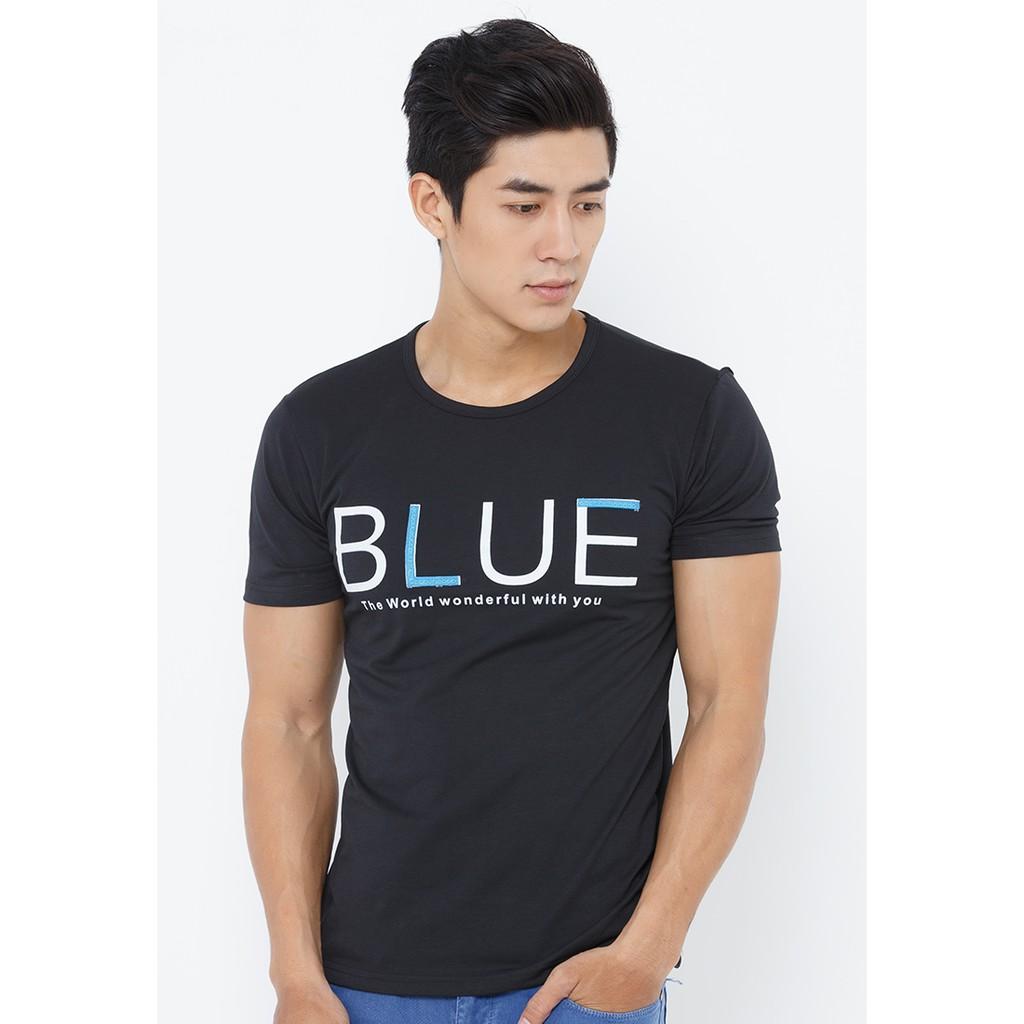 Áo thun Nam in chữ Blue - Đen - CIRINO