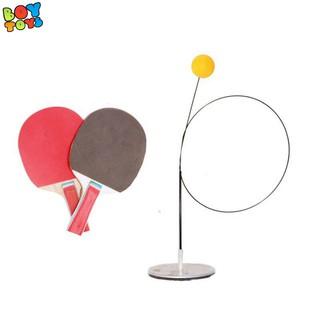 Bóng bàn phản xạ cao cấp 2 vợt gỗ, 3 bóng, 2 dây đàm hồi, 1 đế thép cao cấp