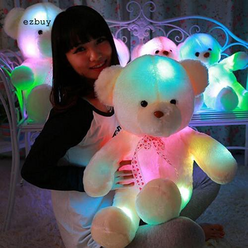 【EY】Lovely Romantic Colorful Flash LED Light Plush Bear Doll Toy Throw Pillow for Kids Friends