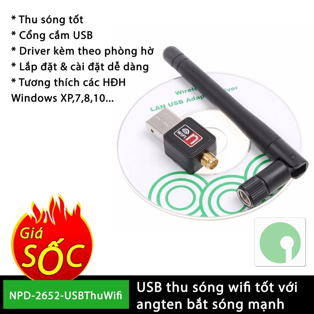 USB thu sóng wifi có angten bắt sóng cho máy tính bàn, laptop hư wifi - NPD-2652-USBThuWifi