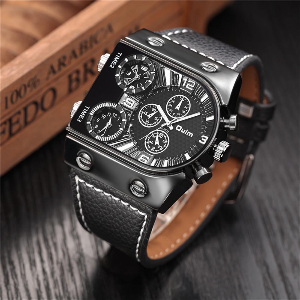 Đồng hồ OULM quartz dây da phong cách quân đội dành cho nam