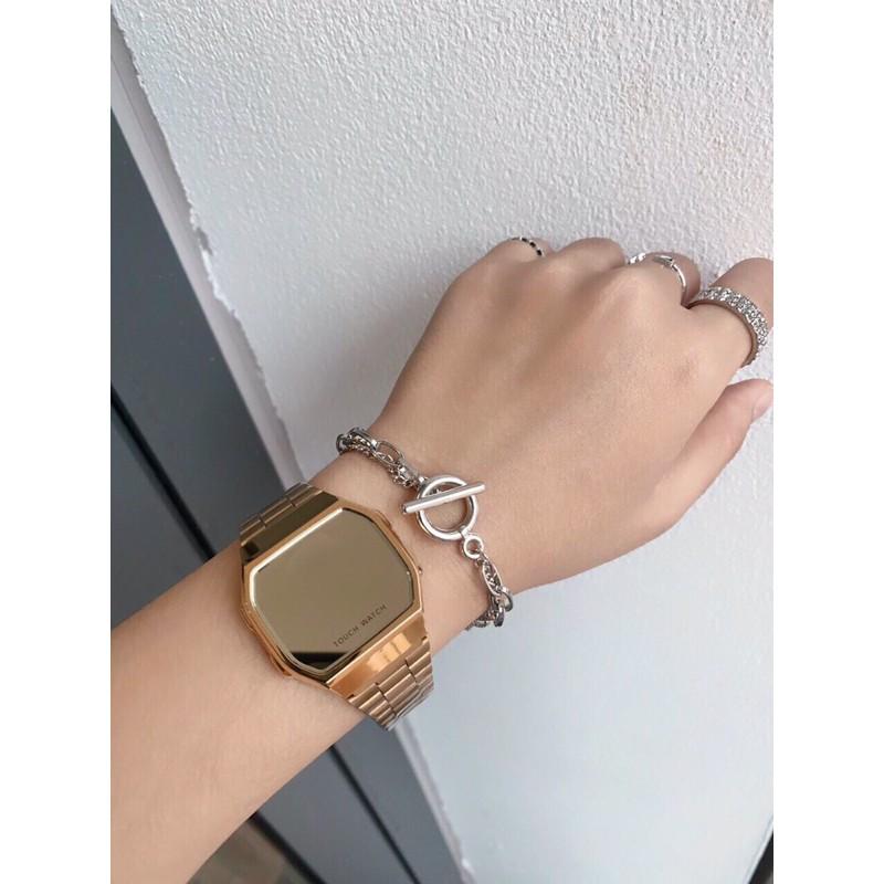 Đồng hồ nam, nữ Tráng Gương dây thép kiểu dáng sang trọng