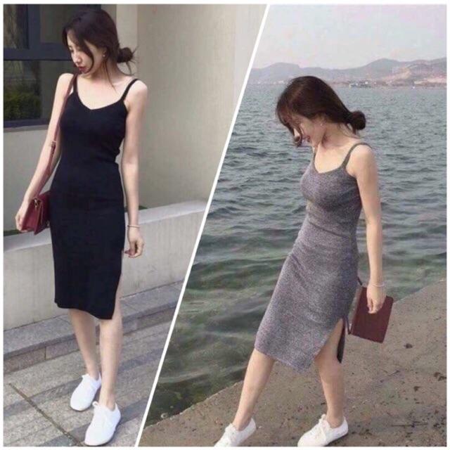 Đầm 2 dây Váy ôm body tôn dáng quyến rũ siêu co giãn VNXK