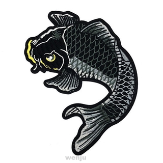2pcs DIY Painting Fish Iron Sew On Koi Carp For Clothing Embroidered Patch