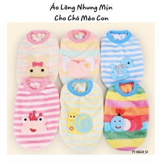 Áo cho chó mèo con - áo lông nhung mịn giữ ấm cho bé mới sinh, còn nhỏ thumbnail