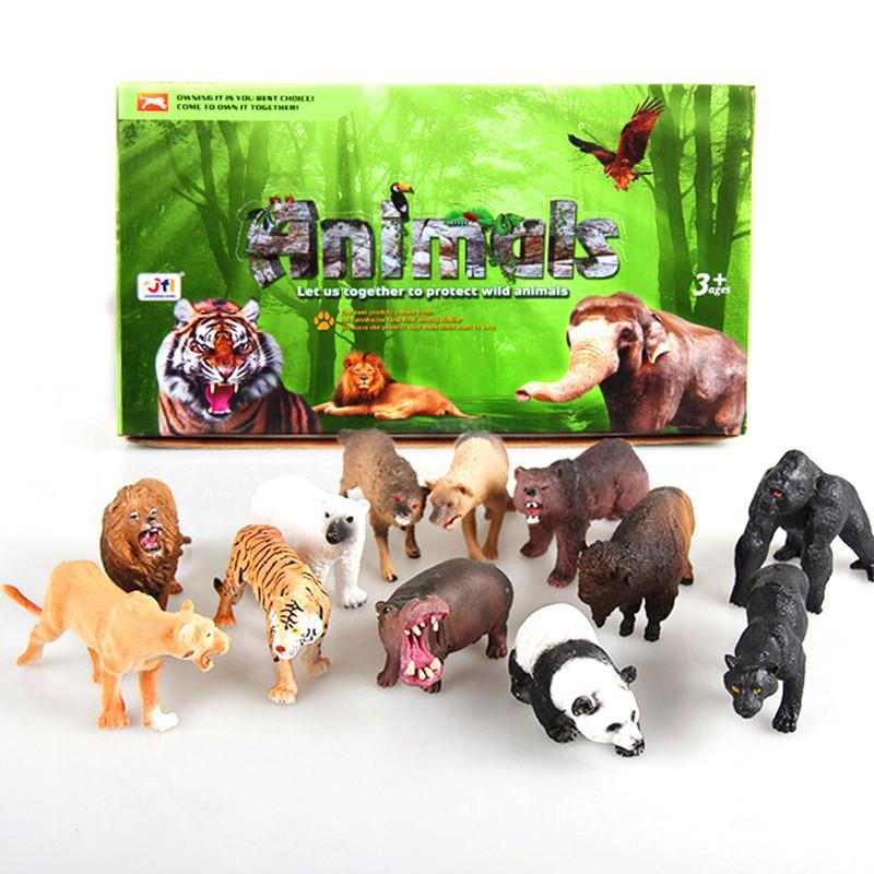 1PC Animal Figure Model Tiger Leopard Hippo Giraffe Random Animal Kids Toy