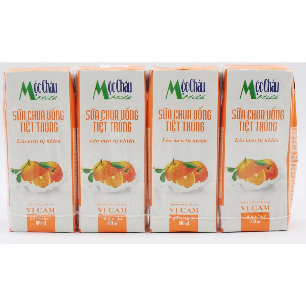 Sữa chua uống Mộc Châu vị Dâu/Cam - lốc 4 hộp x 180m