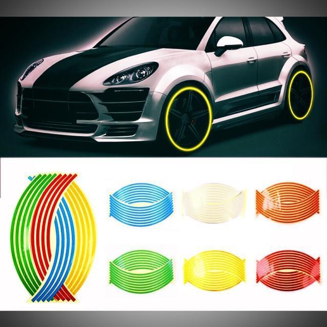 [SALE] [ Full 2 bánh ] Bộ tem dán vành phản quang xe gắn máy và xe ô tô , decal dán vành phản quang 2 bánh Giá siêu rẻ